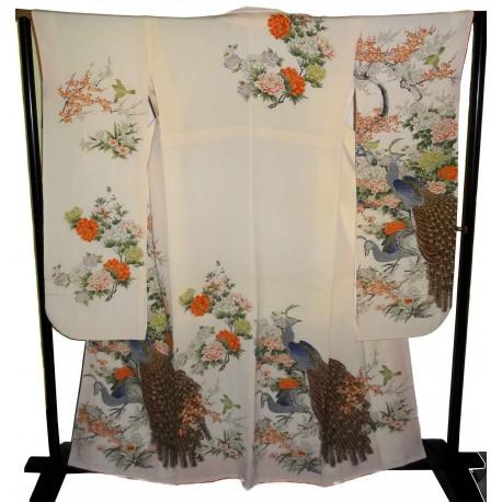 Kimono japonais Furisode écru - Paons et fleurs