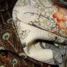 Japanese Furisode kimono - Ecru - Peacocks and flowers