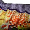 Kimono Furisode violet  - Shiborizomé et motifs floraux