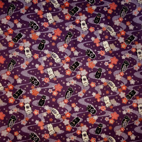 Carré de tissu 52 x 52 pourpre - Motifs Manekineko