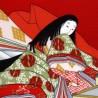 Furoshiki 67x67 rouge - Motif de Hime - Boutique en ligne de tissus japonais furoshiki
