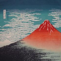 Furoshiki tissu 104x104 bleu - Gaifû kaisei d'Hokusaï