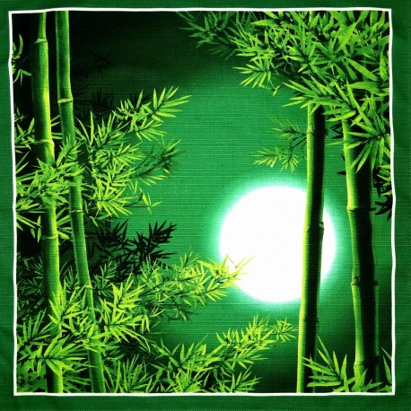 Furoshiki tissu japonais 50x50 - Bambous. Emballage cadeaux réutilisable en tissu.