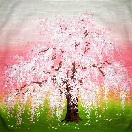 Furoshiki tissu japonaise 50x50 - Shidarezakura. Emballage cadeaux réutilisable en tissu.