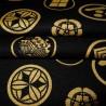 Carré de tissu japonais 52 x 52 noir - Motifs de Kamon. Emballage cadeaux en tissu.