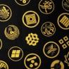 Japanese cloth 52x52 black - Kamon prints. Gift wrapping cloth.