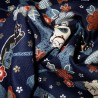 Japanese cloth 52x52 dark blue - maneki Neko prints. Gift wrapping cloth.