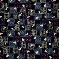Japanese cloth 52x52 indigo - Usagi prints