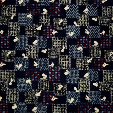 Japanese cloth 52x52 indigo - Usagi rabbits prints. Gift wrapping cloth.