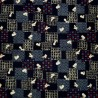 Carré de tissu japonais 52 x 52 indigo - Motifs de lapins Usagi. Emballage cadeaux en tissu.