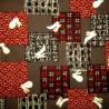 Japanese cloth 52x52 brown - Usagi rabbits prints. Gift wrapping cloth.