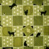 Japanese cloth 52x52 green - Cats prints. Gift wrapping cloth.