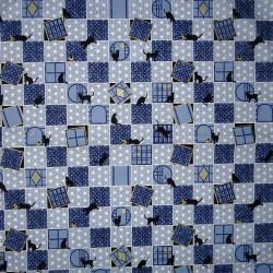 Japanese cloth 52x52 blue - Cats prints