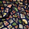 Japanese cloth 52x52 blue - Ôgimon prints. Gift wrapping cloth.