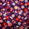 Japanese cloth 52x52 purple - Sakura Usagi. Gift wrapping cloth.