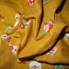 Japanese cloth 52x52 mustard - Owls prints. Gift wrapping cloth.