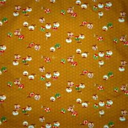 Carré de tissu 52 x 52 moutarde - Motifs de chouettes