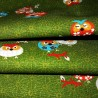 Japanese cloth 52x52 green - Owls prints. Gift wrapping cloth.