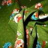 Carré de tissu japonais 52 x 52 vert - Motifs de chouettes. Emballage cadeaux en tissu.