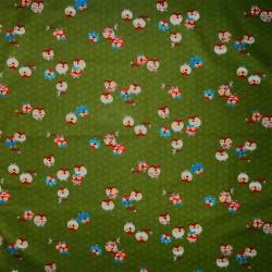 Carré de tissu 52 x 52 vert - Motifs de chouettes