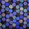 Carré de tissu japonais 52 x 52 bleu - Hexagones décorés. Emballage cadeaux en tissu.