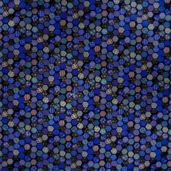 Carré de tissu 52 x 52 bleu - Hexagones décorés