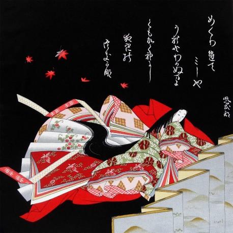 Furoshiki tissu japonaise 67x67 noir - Motif de Hime. Emballage cadeaux réutilisable en tissu.