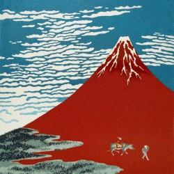 Furoshiki 67x67 bleu - Gaifû kaisei d'Hokusaï