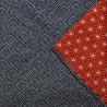 Furoshiki réversible 50x50 - Seigaha et Asanoha. Emballage cadeaux réutilisable en tissu.