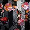 Carré de tissu japonais 52 x 52 noir - Sakura Yukata. Emballage cadeaux en tissu.