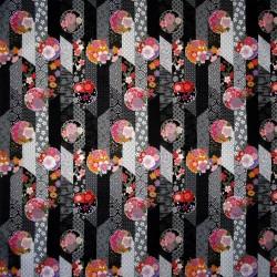 Carré de tissu 52 x 52 noir - Sakura Yukata