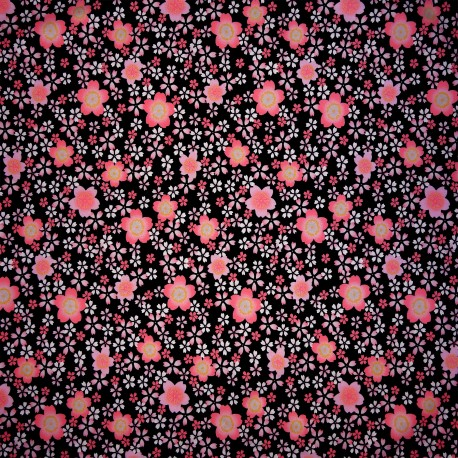 Japanese cloth 52x52 black - Sakura prints. Gift wrapping cloth.