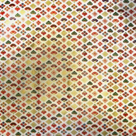 Carré de tissu japonais 52 x 52 écru - Motifs Ôgimon. Emballage cadeaux en tissu.