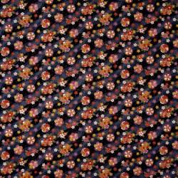 Carré de tissu 52 x 52 gris anthracite - Motifs floraux