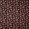 Carré de tissu 52 x 52 gris anthracite - Motifs floraux.  Emballage cadeaux réutilisable en tissu.
