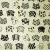 Japanese cloth 52x52 off ivory - Neko-mon prints. Reusable gift wrapping fabric.