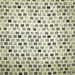 Carré de tissu 52 x 52 ivoire - Motifs Neko-mon