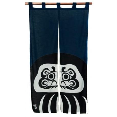 Indigo blue cotton Noren - Black Daruma print. Japanese divider curtains.