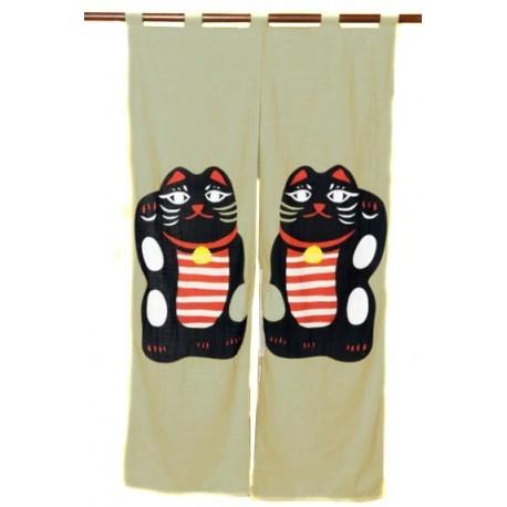 Grey beige cotton Noren - Black Maneki Neko. Japanese divider curtains.
