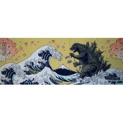 Tenugui Godzilla - Hokusaï's Great Wave