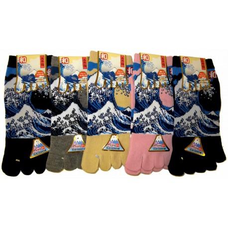Chaussettes 5 orteils - Du 35 au 39 - Grande vague d'Hokusaï. Chaussettes japonaises à orteils séparées.