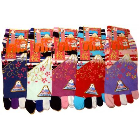 Chaussettes 5 orteils - Du 35 au 39 - Fuji Sakura. Chaussettes japonaises à orteils.