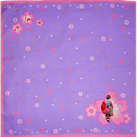 Furoshiki tissu lavande 50x50 - Maiko et Sakura. Emballage cadeaux tissus japonais.