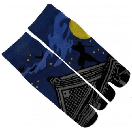 Chaussettes japonaise tabi - Du 39 au 43 - Motifs de Ninja. Chaussettes à orteils.