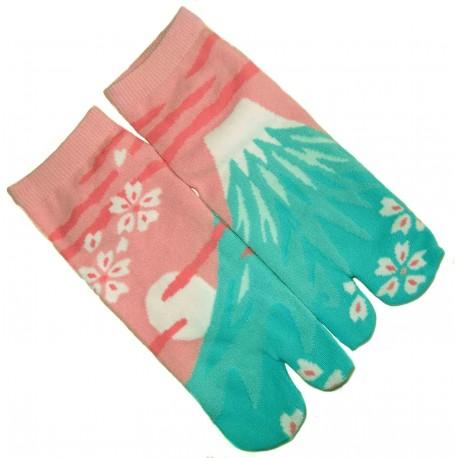 Chaussettes japonaise tabi -  Du 35 au 39 - Mont Fuji et Sakura. Chaussettes à orteils.