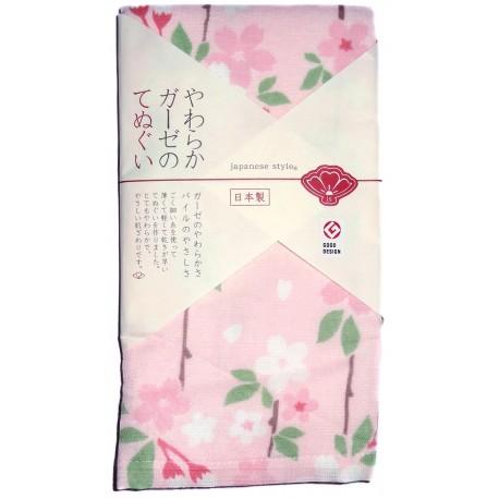 Serviette en gaze 90x34 cm - Shidarezakura. Tissus et textiles japonais.