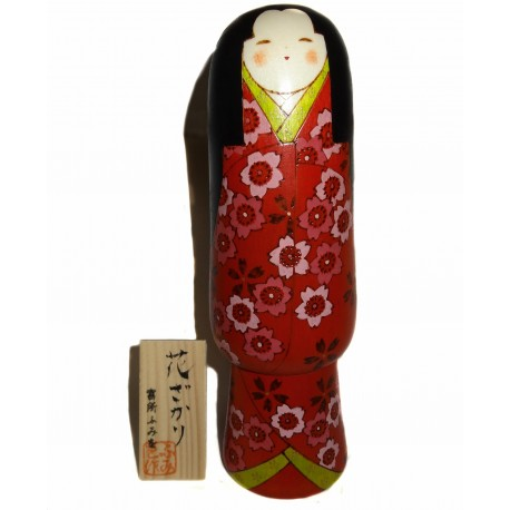 Poupée Kokeshi - Pleine Floraison. Poupées japonaises en bois.