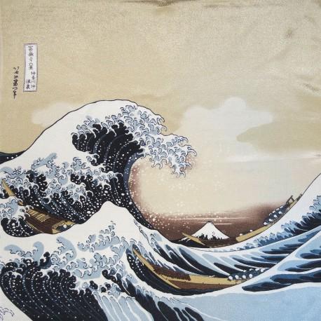 Furoshiki tissu 68x68 - Grande vague Hokusaï. Emballage cadeaux en tissus japonais.