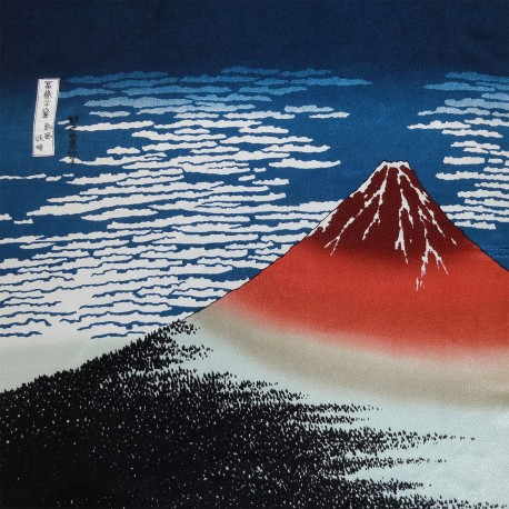 Furoshiki cloth 68x68  blue - Hokusaï's Gaifû kaisei. Japanese cloth gift wrapping