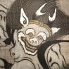 Hanging tapestry - Fûjin and Raijin Gods - 60x120. Japanese wall decoration Kakejiku Kakemono.
